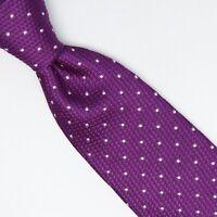 Turnbull & Asser Mens Silk Necktie Rich Purple White Polka Dot Pindot Woven Tie
