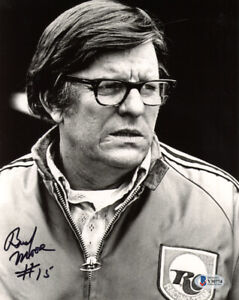 BUD MOORE SIGNED AUTOGRAPHED 8x10 PHOTO NASCAR OWNER RACING LEGEND BECKETT BAS