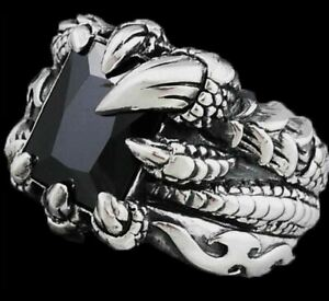 DRAGON CLAW FLAME FIRE WARRIOR BLACK ONYX 925 STERLING SOLID SILVER MENS RING