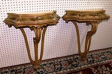 Pair Carved Antique Hand Painted Country French Consoles Louis XV C1890