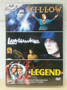 Willow + LadyHawke + Legend DVD (3 DISC SET 3 MOVIES) Cult Classic Fantasy Films