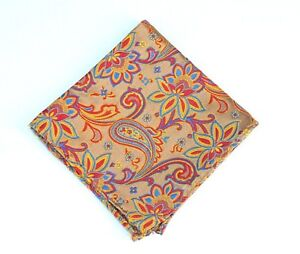 Lord R Colton Masterworks Pocket Square - Charleston Gold & Red Silk - $75 New