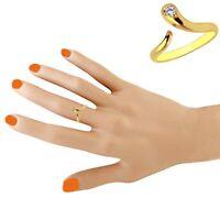 10K Yellow Gold Snake CZ Cubic Zirconium Adjustable Ring or Toe Ring