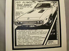 1971 Plymouth Road Runner   Auto Pen Ink Hand Drawn  Poster Automotive Museum