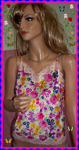 NWT S Small Delicates VINTAGE Boho Floral Satin Lace Trim Camisole Lingerie Top
