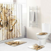 Butterfly Shower Curtain Bathroom Rug Set Non-Slip Toilet Lid Cover Bath Mat