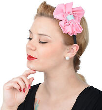 Cute retro Bow 50s, rosa bucles diadema-rosa rockabilly