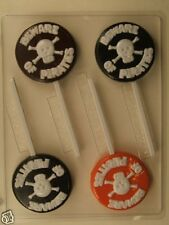 BEWARE OF PIRATES CROSSBONES LOLLIPOP CLEAR PLASTIC CHOCOLATE CANDY MOLD H133