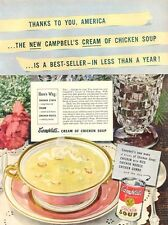 1948 Campbell's Chicken Soup fun food Kitchen Nook Decor Vintage PRINT AD