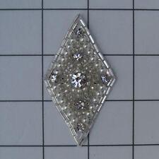 DIAMOND SHAPE PEARLED RHINESTONE BEADED APPLIQUE 2398-H