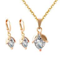 Fashion Rhinestone Flower Bud Necklace Earrings Women Jewelry Set Nice Gift