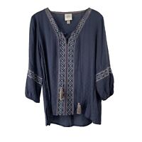 Knox Rose Balloon Sleeve Blue Embroidered Blouse Womens Size L V Neck Tassel Top