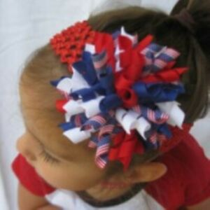 Red White Blue July 4th Round Korker Hair Bow Soft Headband Preemie to Adult