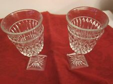 PAIR OF VINTAGE CLEAR, PRESSED GLASS GOBLETS -  5 3/8 in. tall