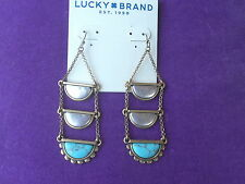 Stone Ladder Drop Earrings Lucky Brand Nwt Two-Tone Turquoise