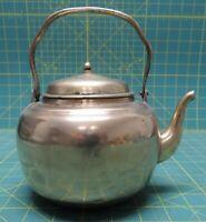 "Vintage Solid Brass Teapot w/ Handle, Lid 6"" Diameter Made In Korea"