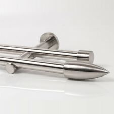 110 - 600cm Vorhang Gardinenstange Neu zweiläufig Edelstahl Design 20mm (Speer)