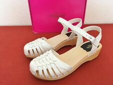Swedish Hasbeens UK 8 EU 41 Mid Heel Closed Toe Sandals in braided White Leather