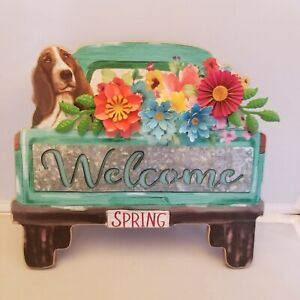 Pioneer Woman Welcome Spring Sign Charlie Dog with metal flowers