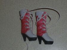 "Leather boots - handmade - coral/white - for Momoko, Poppy Parker, 11-12"" dolls"