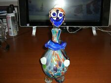 VINTAGE HAND BLOWN MURANO STYLE CLOWN DECANTER WITH STOPPER