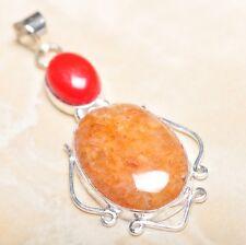 "Handmade Calcite Jasper Gemstone 925 Sterling Silver Pendant 2.5"" #P14625"