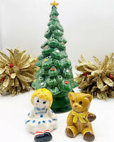 Vintage Avon Merry Christmas Tree Hostess Ceramic Set Centerpiece Salt & Pepper