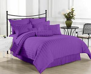 Premium Egyptian Cotton 1200TC Duvet Set + Fitted Sheet Purple Striped All Sizes