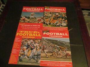 LOT OF 4 VINTAGE 1950S & 1960S TRUE MAGAZINE FOOTBALL YEARBOOK MAGAZINES
