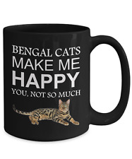 Bengal Cat Coffee Mug, Bengal Cats Make Me Happy, 15oz Black Ceramic Tea Cup