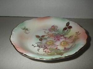 Bavaria Schumann Arzberg Germany WIld Rose Blush Gold Round Bowl