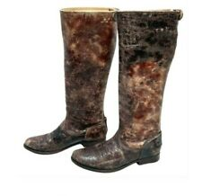 Frye Melissa Brown Distressed Leather Tall Knee High Riding Boots 6.5 Back Zip