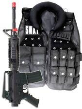 Police SWAT Vest Halloween Costume + M4 Pistol Rifle Cop Adult Men size Airsoft