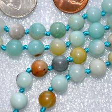8mm Amazonite Flower Prayer Beads Hand Knotted Japa Mala Necklace