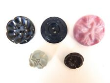 "5 Floral Motif Buttons-(LilacGreyBrown2Blue)-5/8""-1-1/8""-ViewAllPhotos"