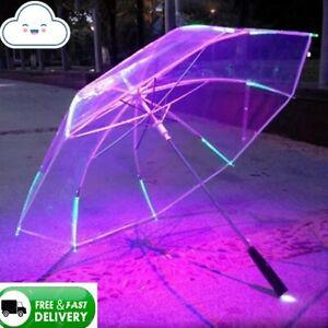 LED Light Transparent Umbrella Shining Glowing Changing Color Flashlight Parasol