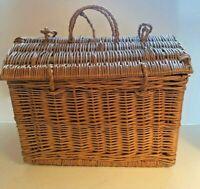 Vintage Wicker Picnic Craft Storage Basket With Lid