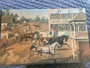 Harness racing Horse Color Print / Sulky race trotting