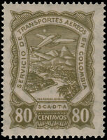 ✔️ COLOMBIA SCADTA 1928 - AIRPLANE OVER RIVER - SC. C46 ** MNH [SCDT44]