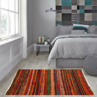 Orange Color Rag Rug Recycled Hand loom Cotton Braided Runner Yoga Mat 100x170Cm