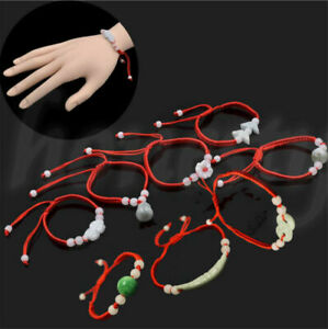 Jade Beads Red String Rope Bracelet Good Luck Lucky Success Moral Amulet Gift