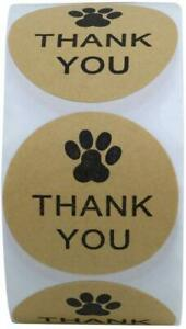 THANK YOU Stickers Labels Gift Food Craft Baby Shower Wedding Craft PAW PRINT