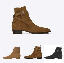 Vintage Men Real Leather Suede Casual Pointy Toe Ankle Chelsea Boot Buckle Shoes
