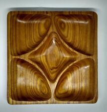 Vintage Mid Century solid wood teak? 5 section nut / dip serving tray Christmas