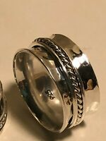 925 Sterling Silver Taxco Silver Spinner Rings, Band Men or Women Ring