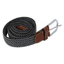 H3 Man Woman Leather Belts Canvas Belt Buckle Elastic Waistband Belt in black an