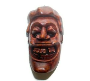"Stunning Handmade Wood Carving Skyrim Mask Wooden Sculpture 9"" Home Decor Art"