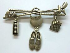 Golf Charm SIGNED Brooch Pin With Clubs, Irons, Ball, Hat, Shoes, Score Card NEW