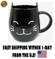 Cat Mug - Cute Present Unique Gift Idea For Cat Lover Kids Meow Coffee Cup BLACK