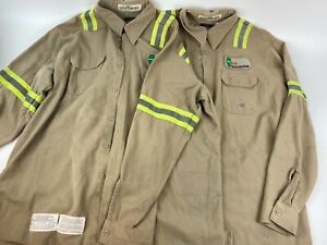 2 BULWARK FR Work Shirt Reflective Stripes Sz XXL Patched IL State Construction